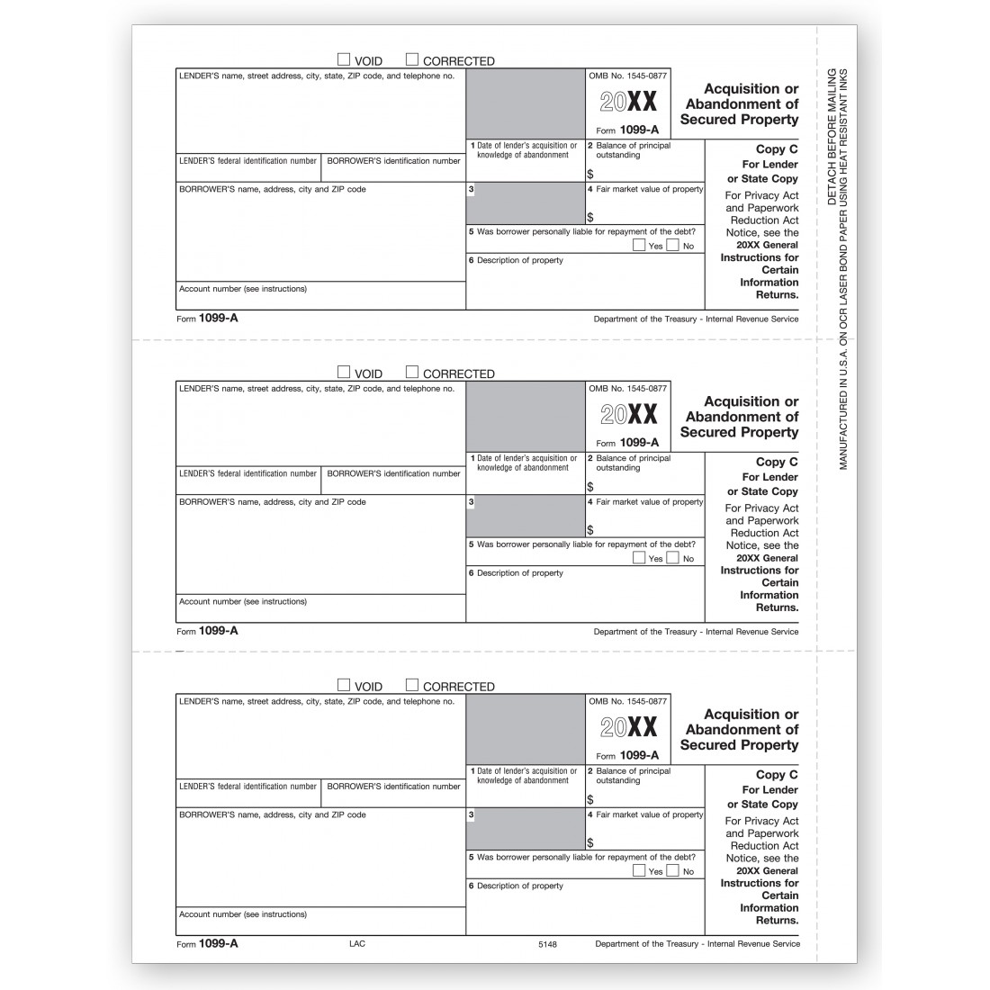 1099 A IRS Tax Forms
