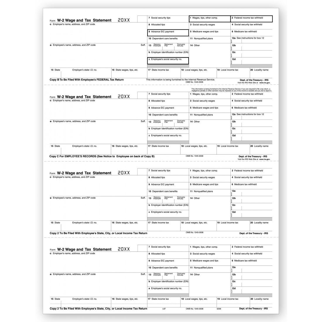 2017 4 Up Laser W 2, Employee Copy, Horizontal Format
