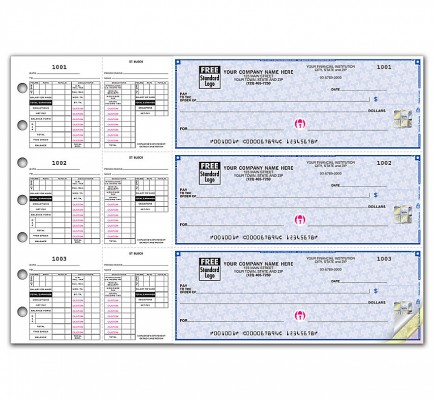 3 On A Page Payroll Checks Double Side Tear Vouchers