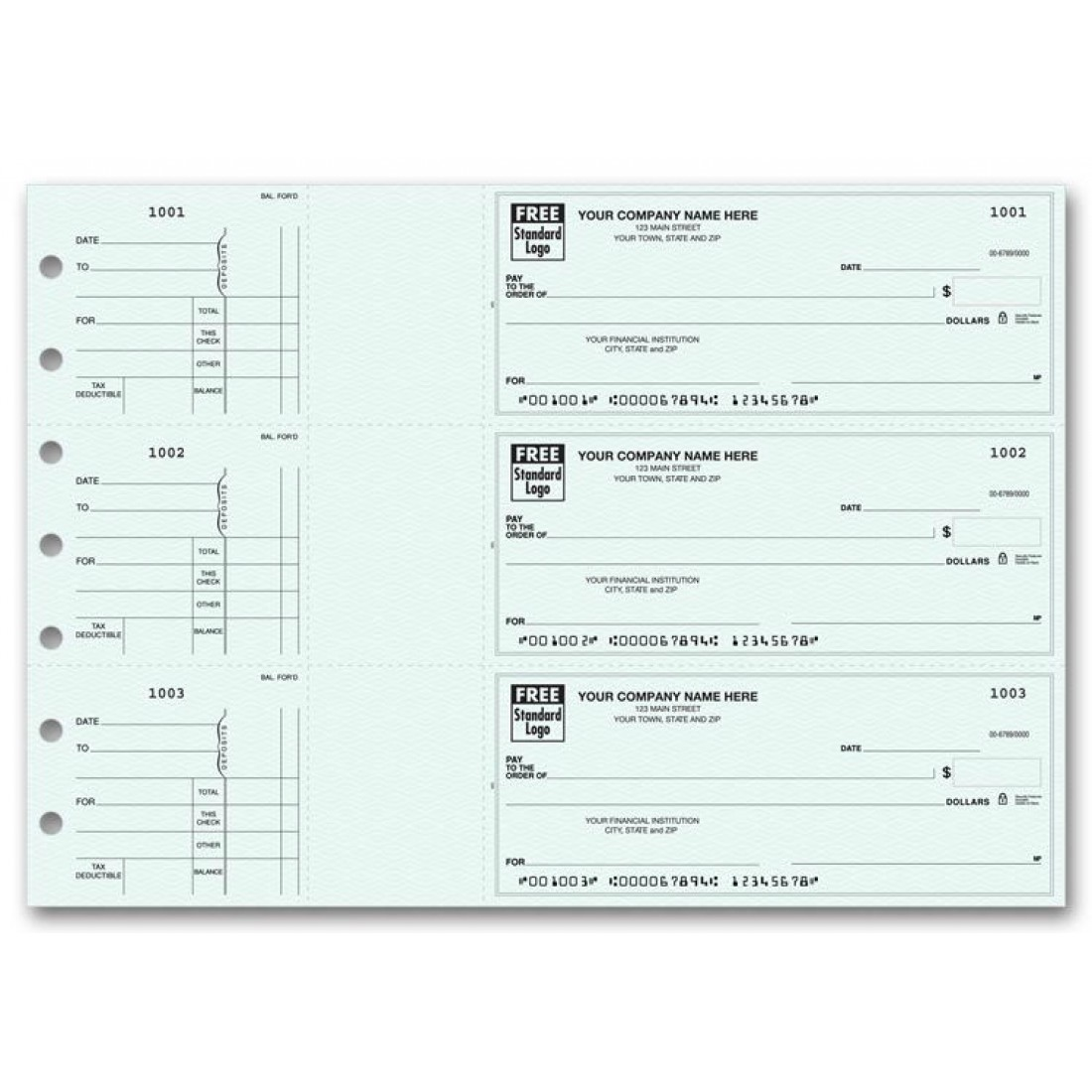 53224N, 3-Per-Page End-Stub Voucher Check