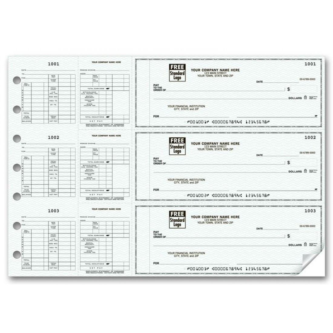 3-To-A-Page Hourly Payroll Checks (53263N) - 3-To-A-Page Checks  - Business Checks