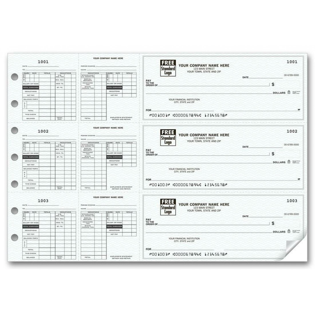 53229N, 3-To-A-Page Payroll Checks with Maximum Deductions
