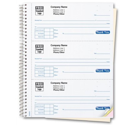 3 to a Page Cash Receipt Books