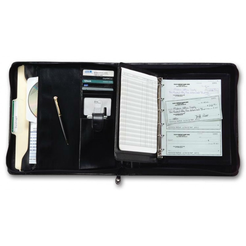 Business Size Checkbook Covers : Ring deskbook check portfolio free shipping
