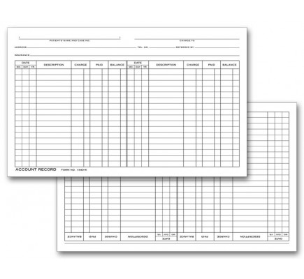Account Record Billing Card, Double Entry