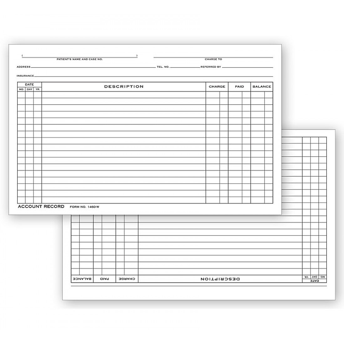 Account Record Billing Card, Single Entry
