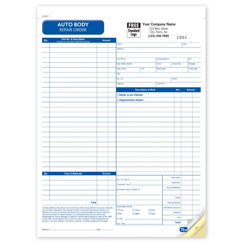 Auto Body Repair Order Form Aut At Print Ez