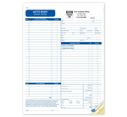 Auto Body Repair Order Form