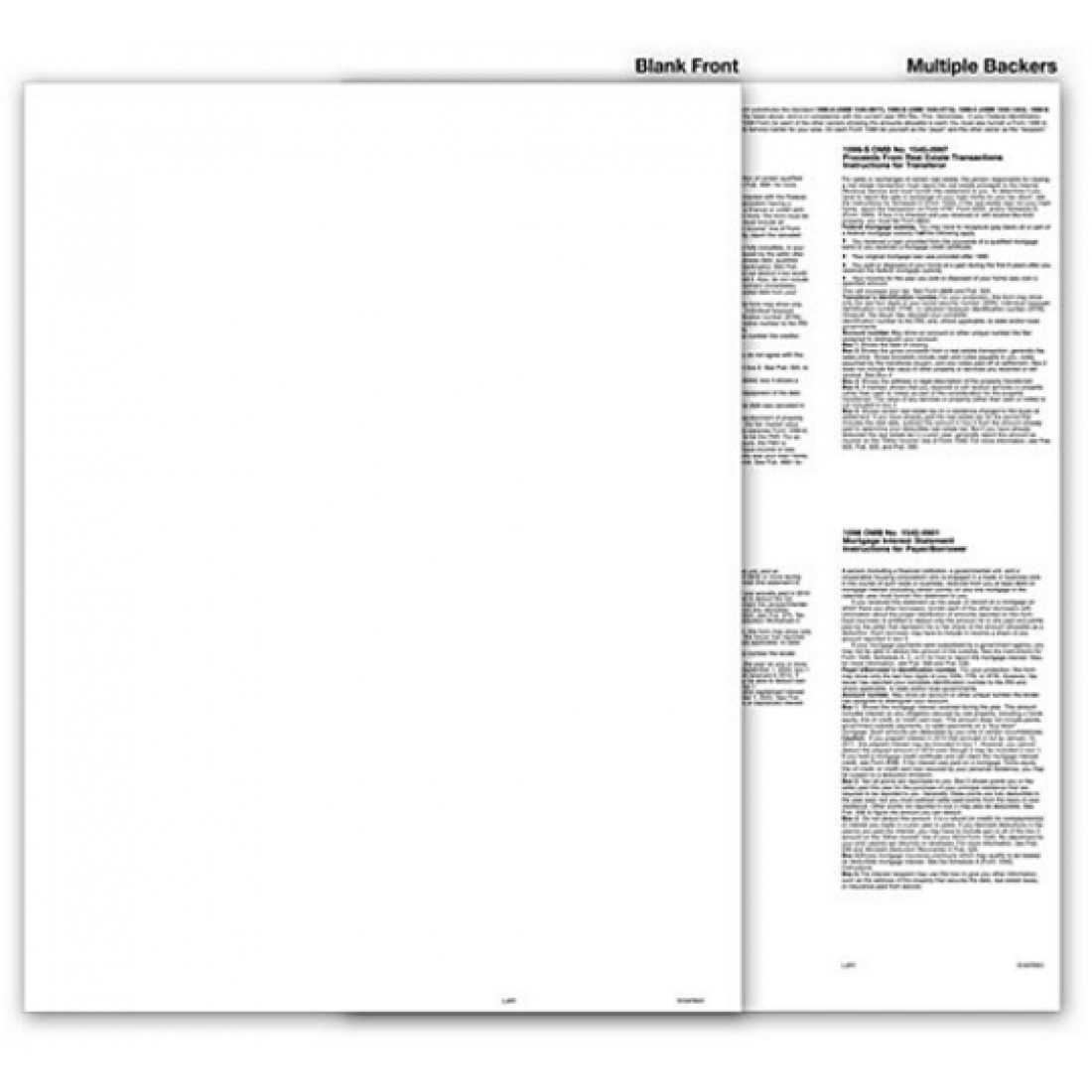 Blank Federal Tax Form 1099 with Multiple Backers