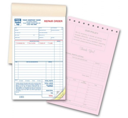 Booked Auto Repair Order Forms