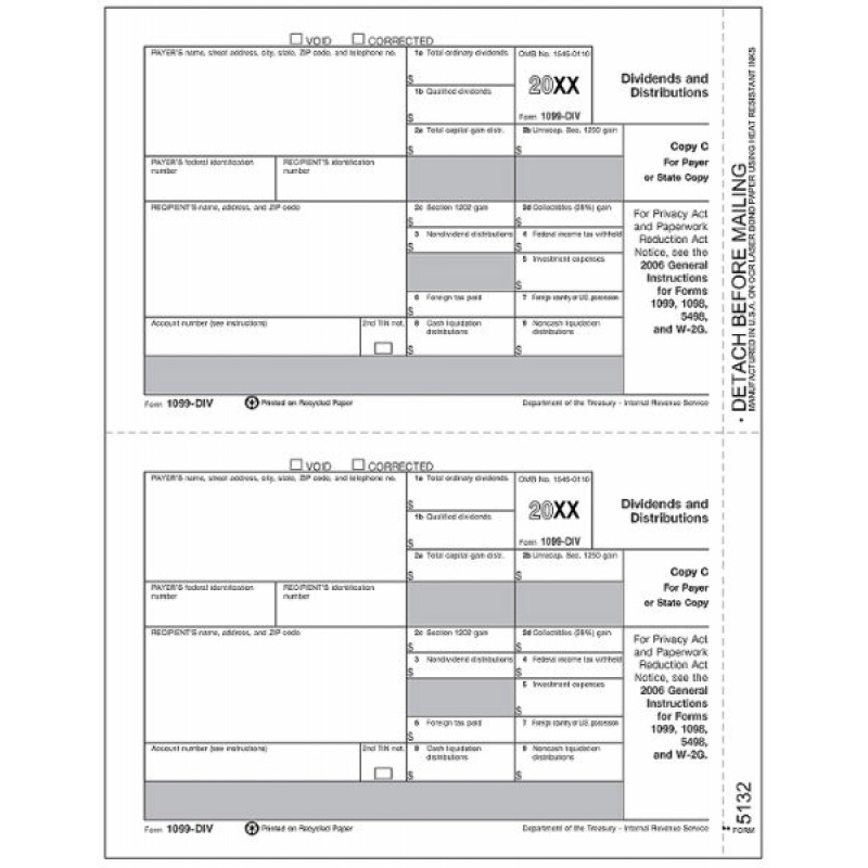 Bulk 1099 DIV Tax Forms State Copy C