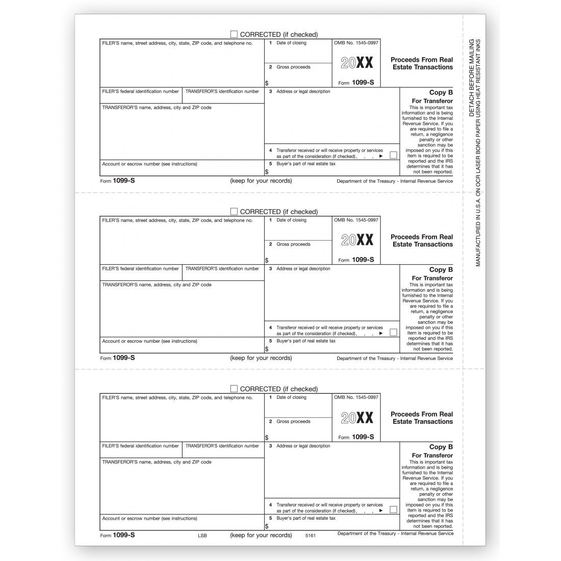 Bulk IRS Tax Form 1099 S Copy B | Free Shipping