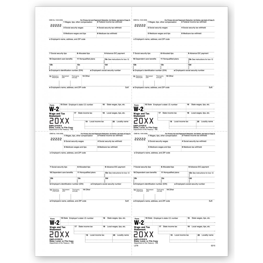 Bulk W 2 Tax Forms Employer Copy