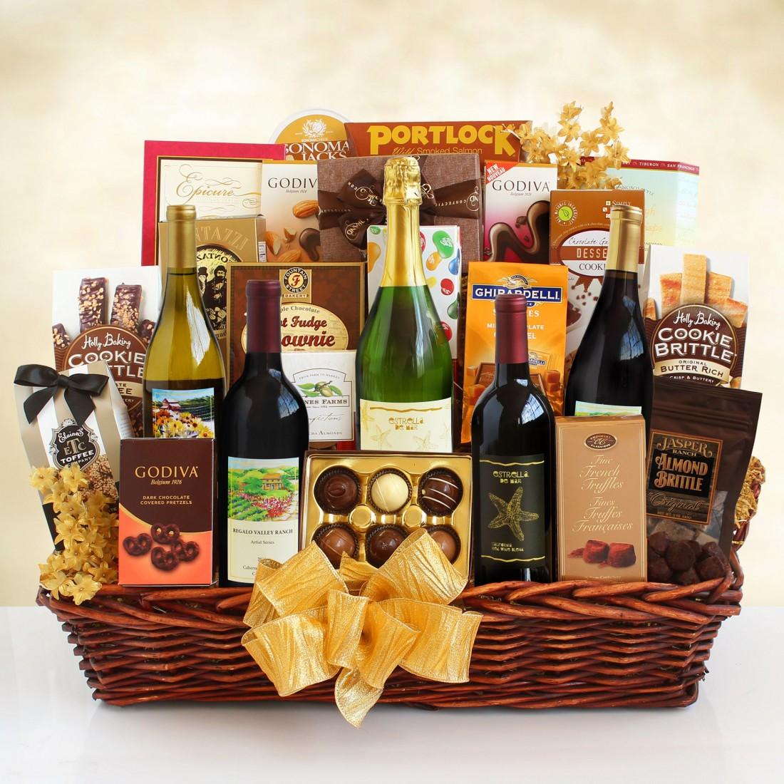 California Grandeur Wine and Gourmet Food Gift Basket