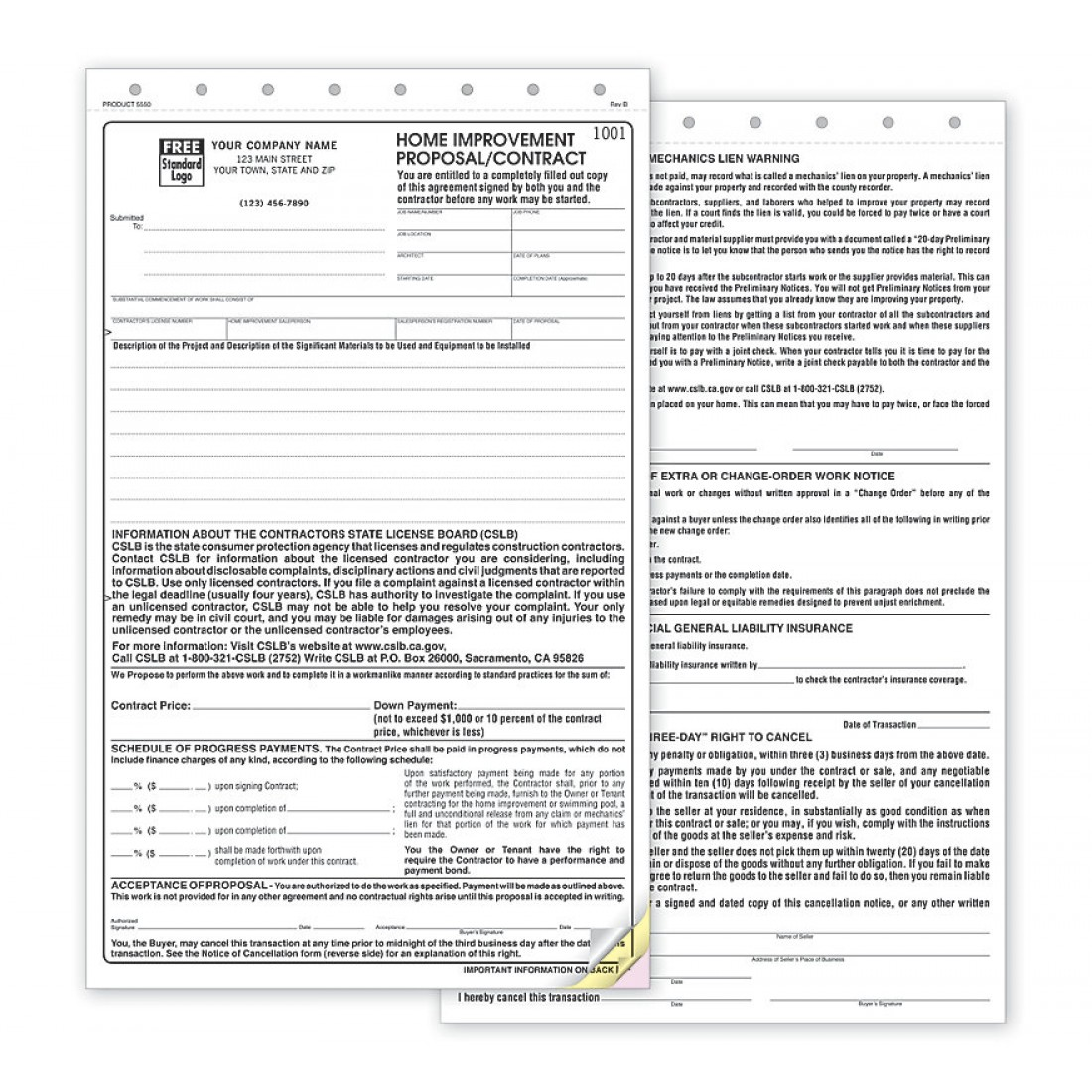 California State Contract Proposal Forms