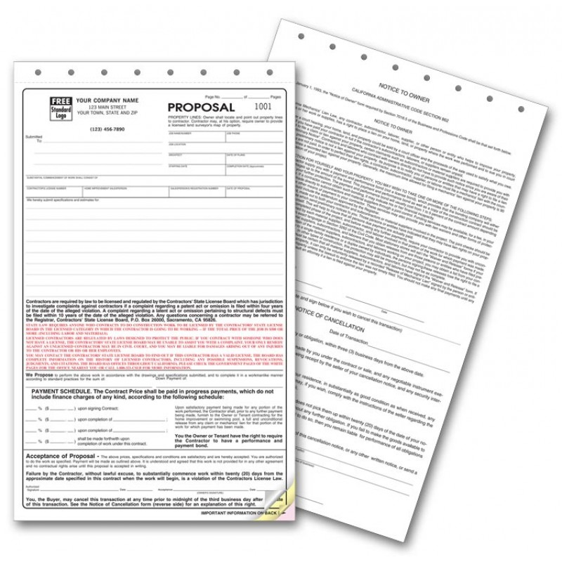 California State Contract Proposal Forms  Free Shipping