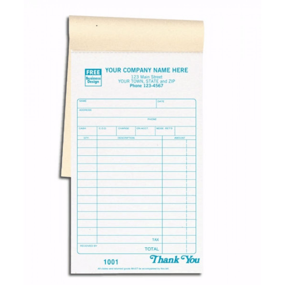 Carbon Copy Sales Receipt Books | Free Shipping