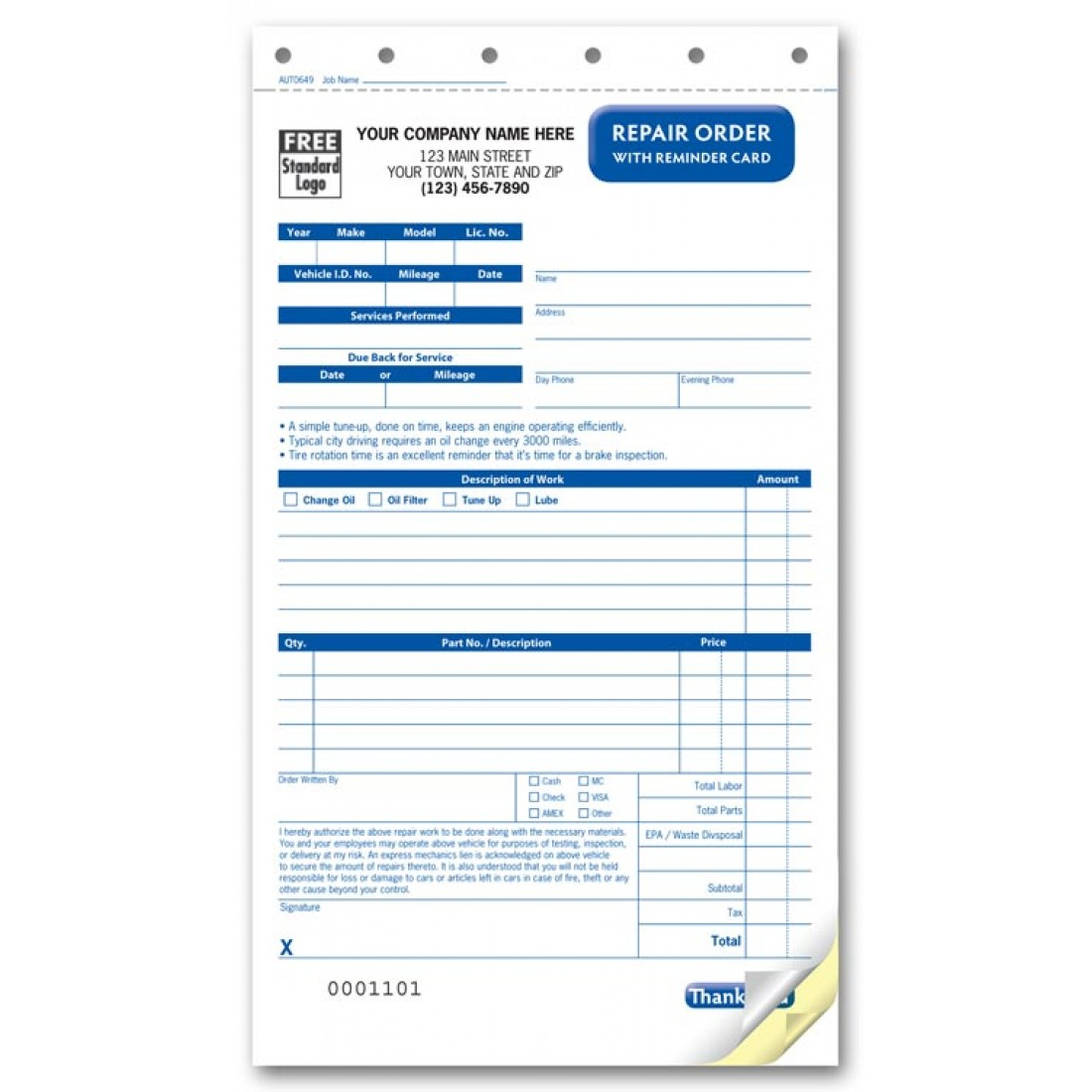 Carbonless Company Repair Order Forms
