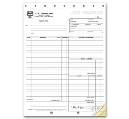 Carbonless Job Invoices