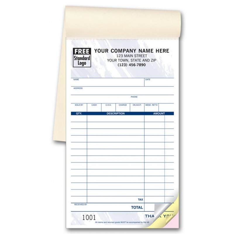 Carbonless Sales Receipts Booked