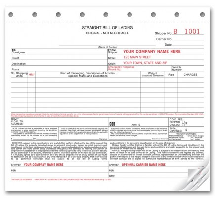 Carbonless Straight Bill of Ladings Forms