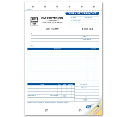 Carbonless Work Order Business Forms