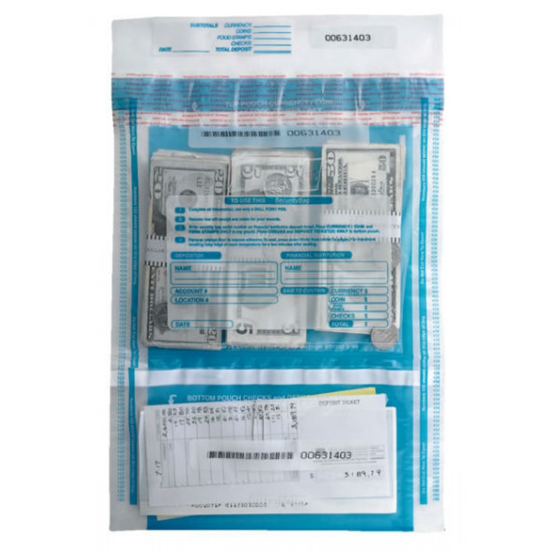 Checks & Cash Deposit Bags - 10 x 15 3/4 (53858) - Deposit Slips  - Business Checks
