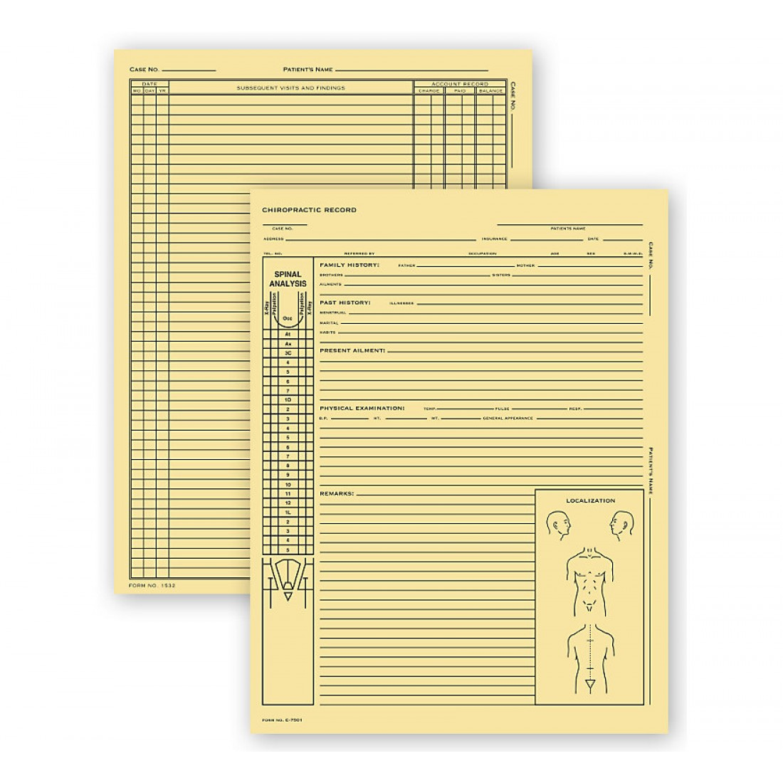 Chiropractic Exam Records Spinal Diagram Card File Fold