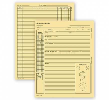 Chiropractic Exam Records Spinal Diagram Letter Style