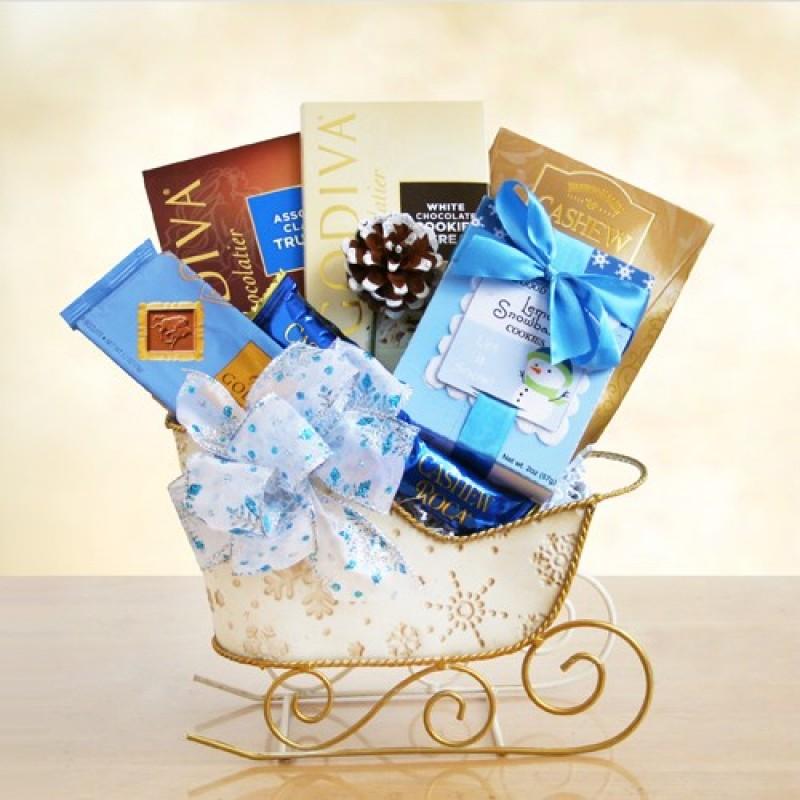 christmas gift sleigh - Christmas Gift Baskets Free Shipping