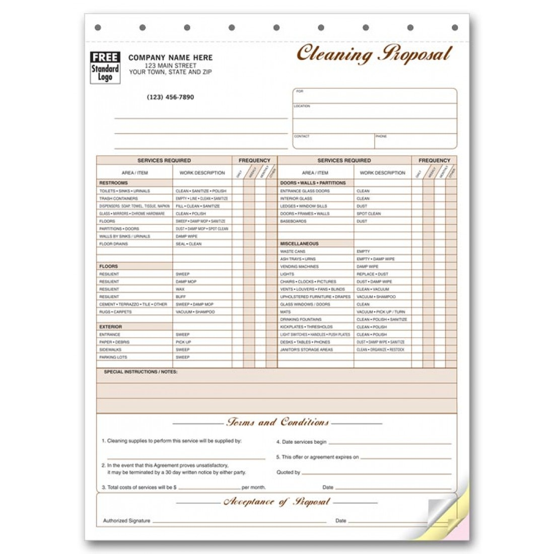 Cleaning Proposal Forms Free Shipping - Cleaning service invoice template free online beer store