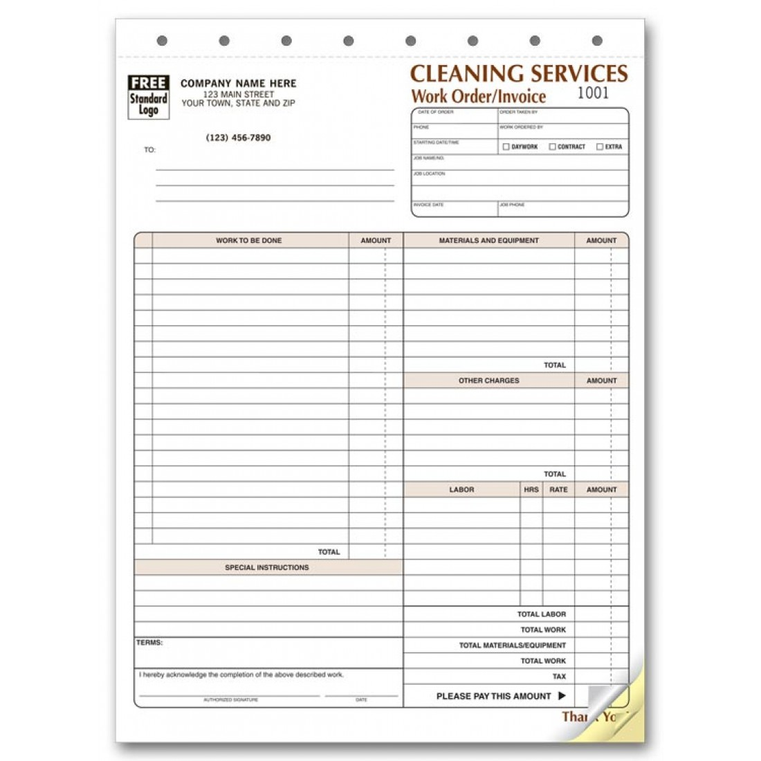 Cleaning Service Invoice Forms Free Shipping