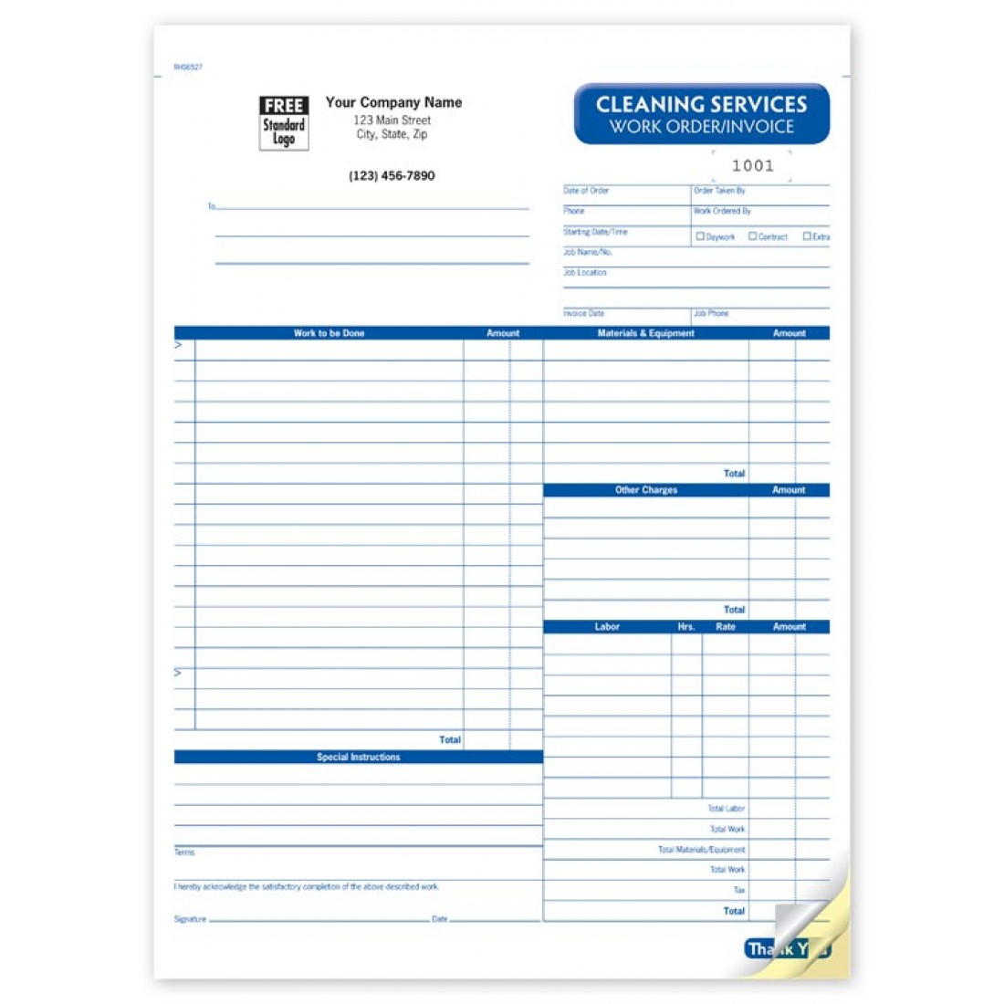 Cleaning Work Order Invoice Forms