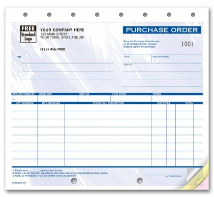 Compact Colored Purchase Order Forms