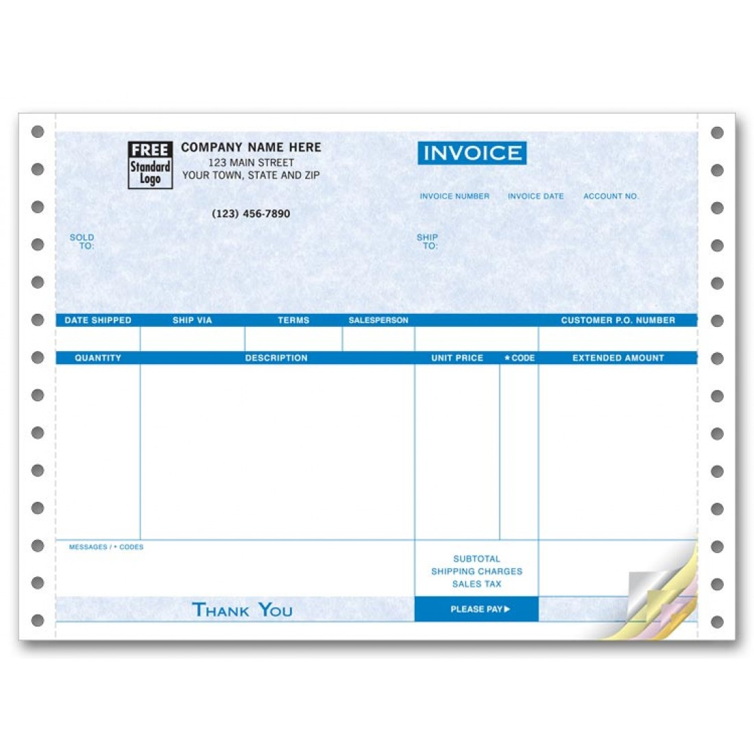 Compact Continuous Invoice - Parchment