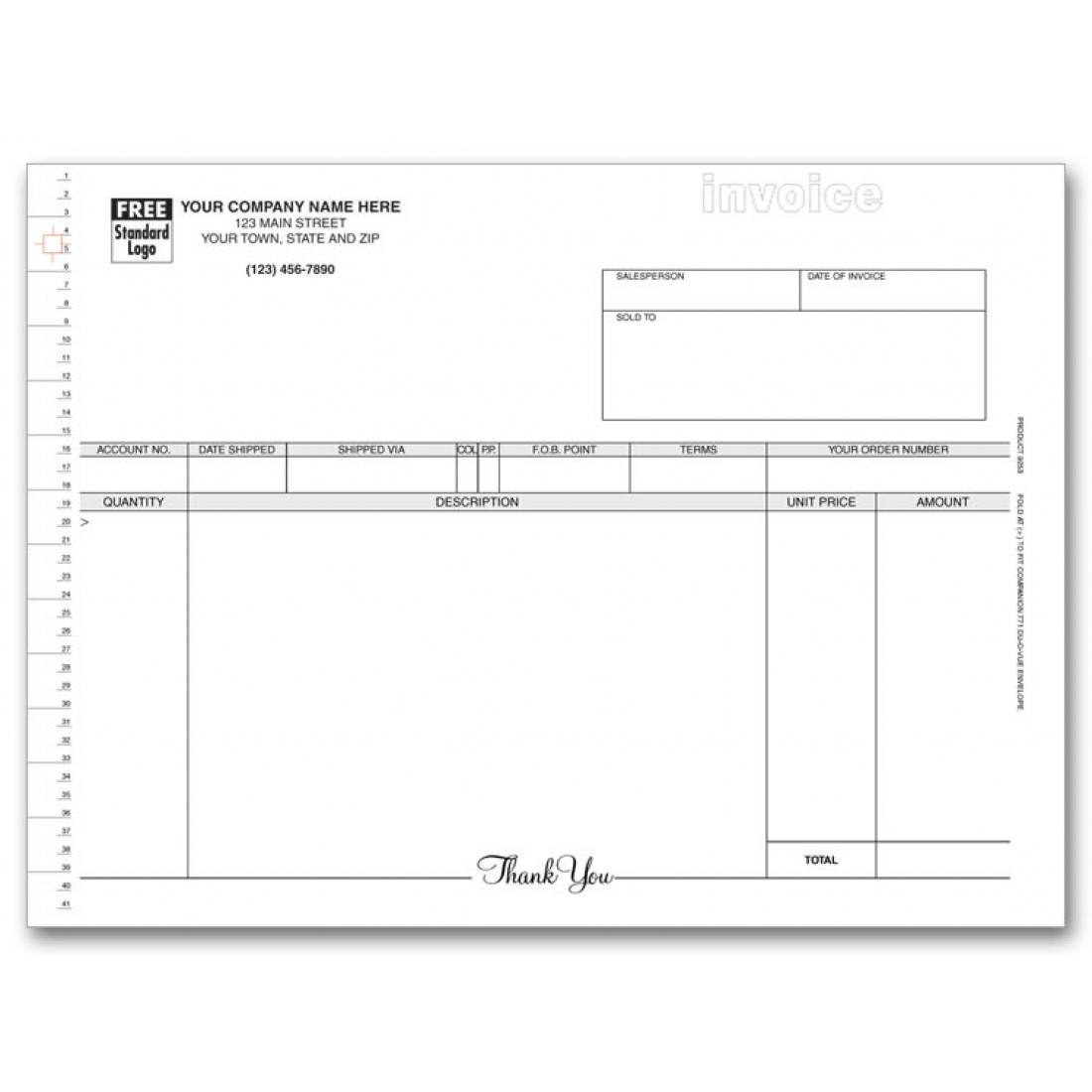 Compact Continuous Invoice with Mailing Label