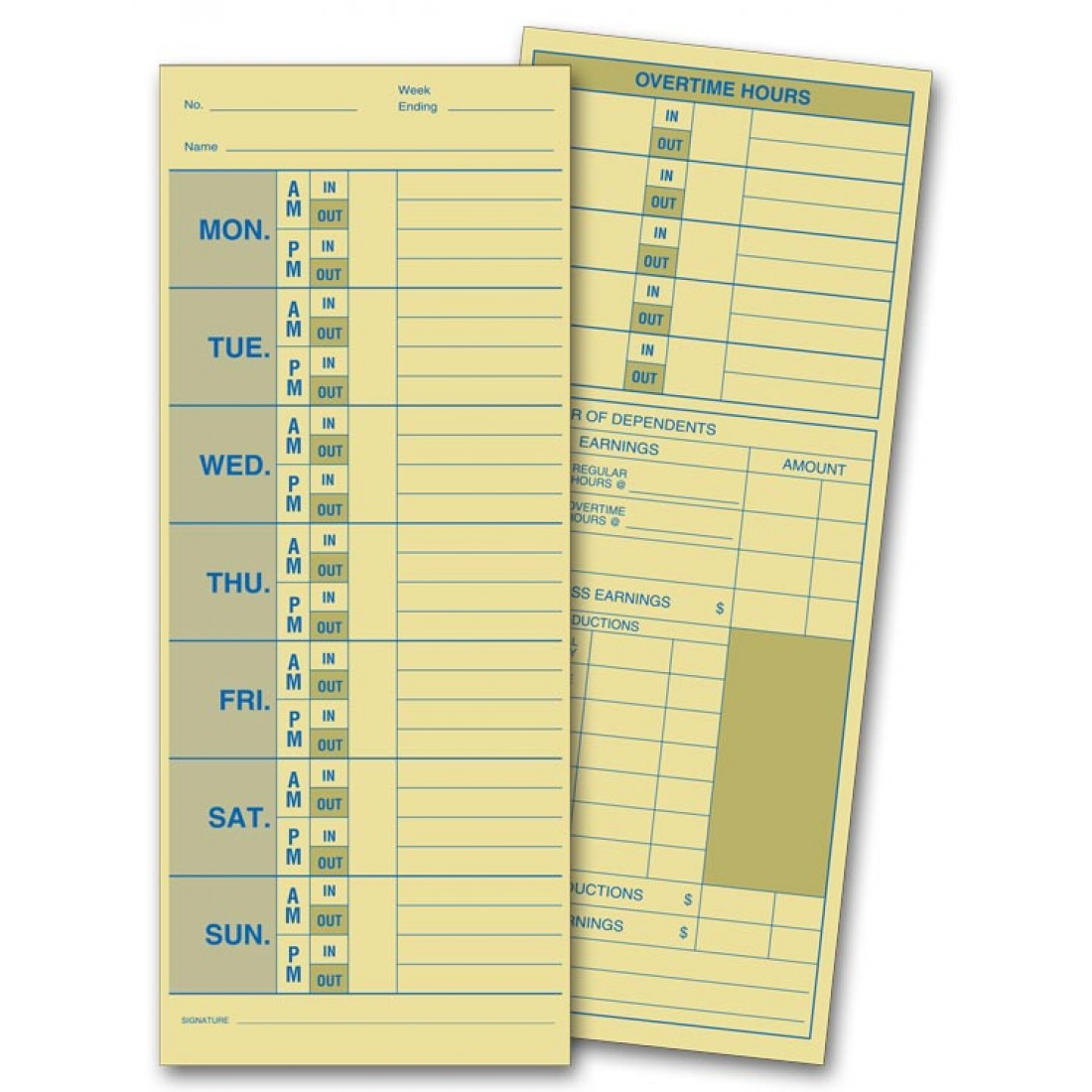 Compact Employee Time Cards
