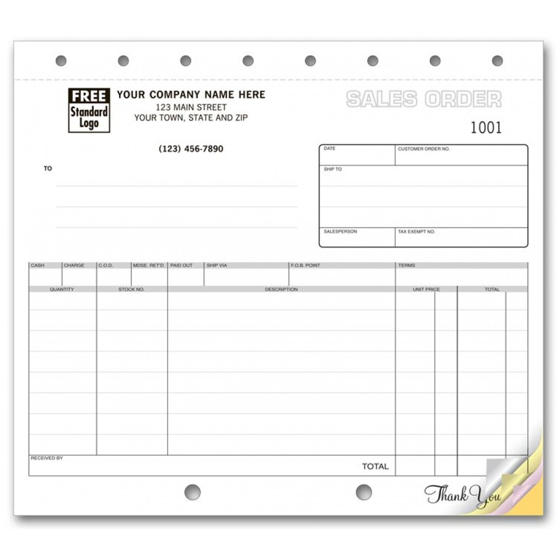 Compact Sales Order Forms