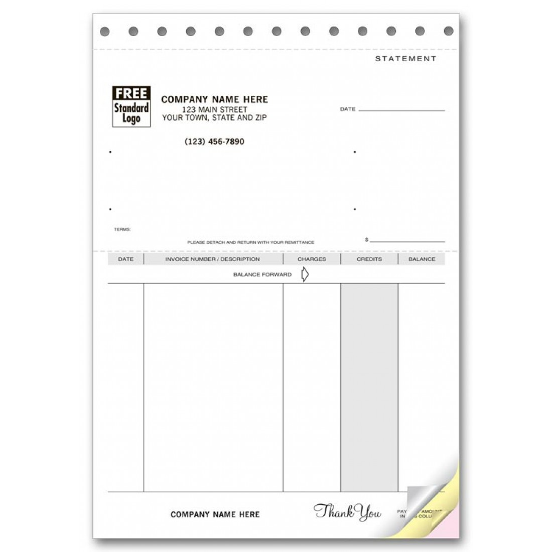 Compact Unlined Statement Forms