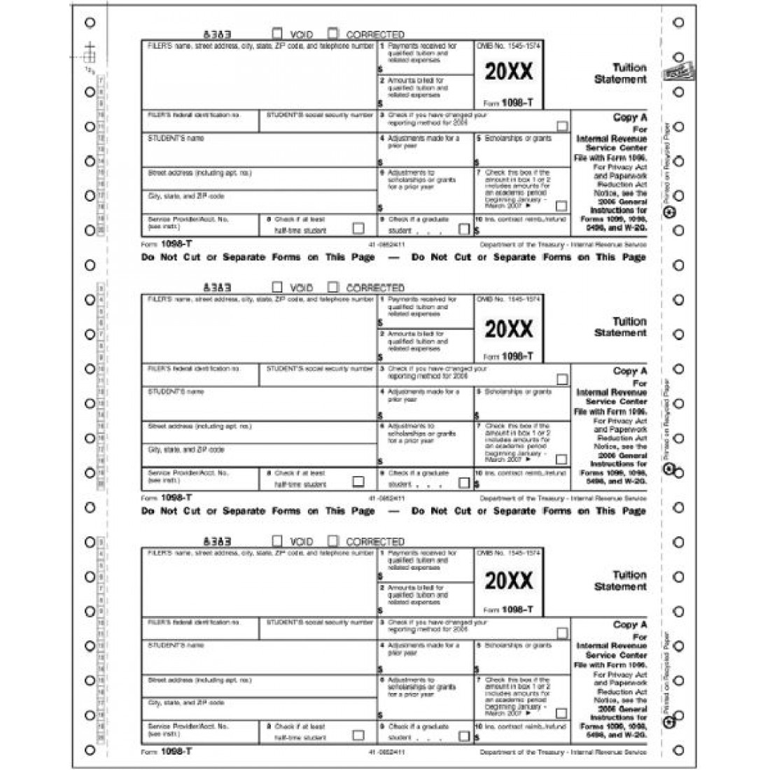 Continuous 1098 T Tax Form Federal Copy A   Free Shipping