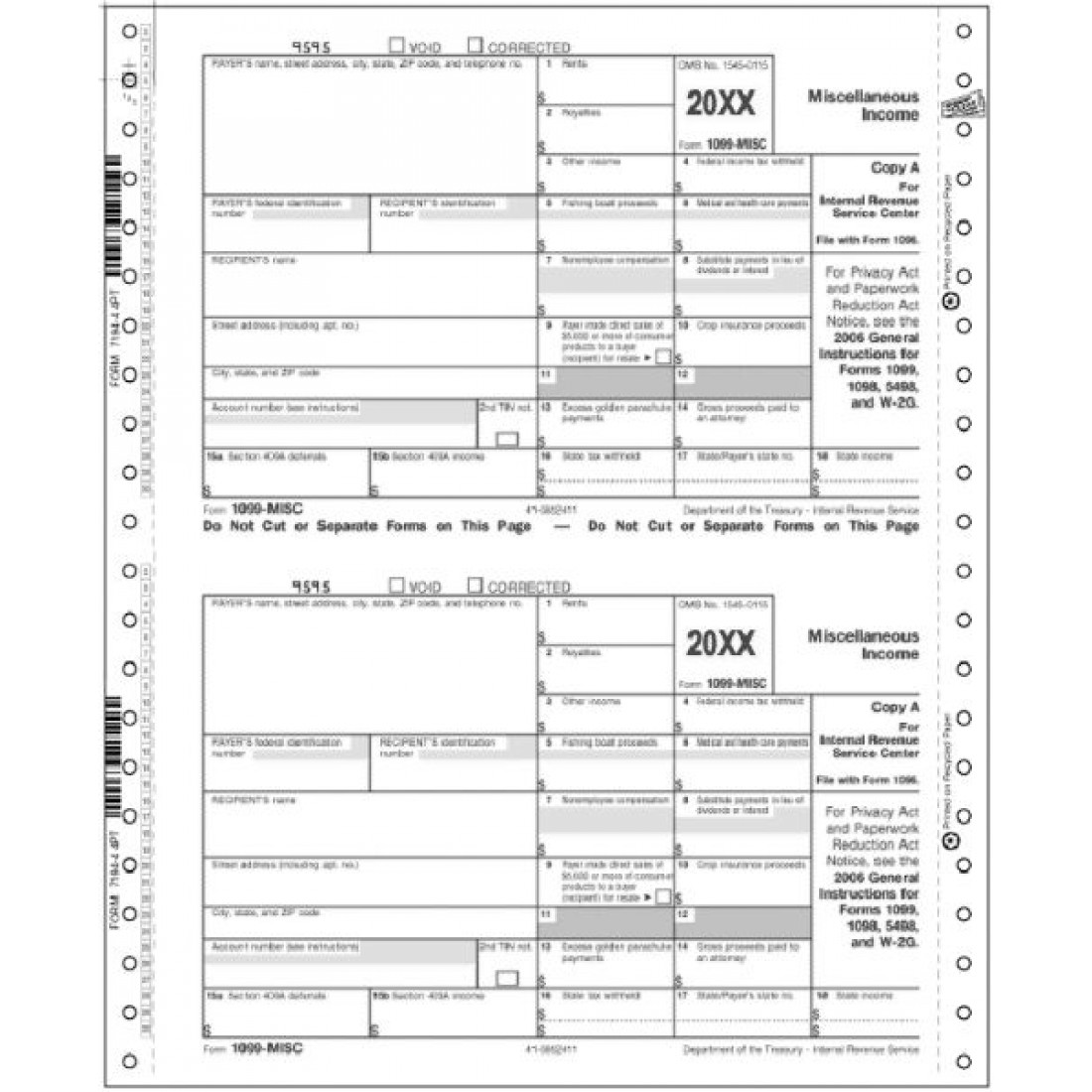 Continuous 1099 MISC IRS Tax Forms