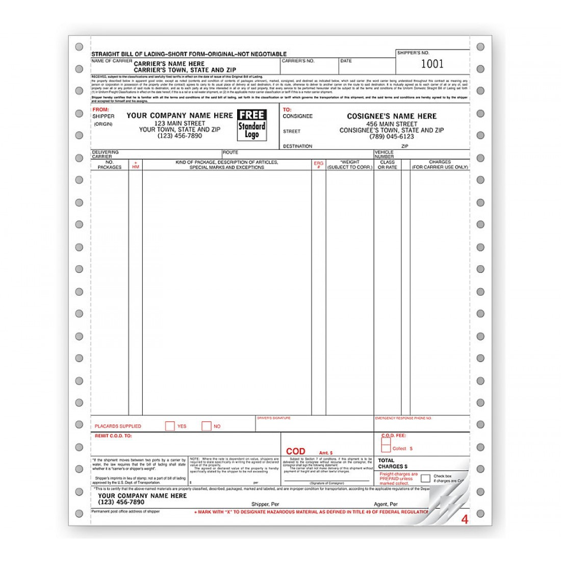 Continuous Bill Of Lading Form