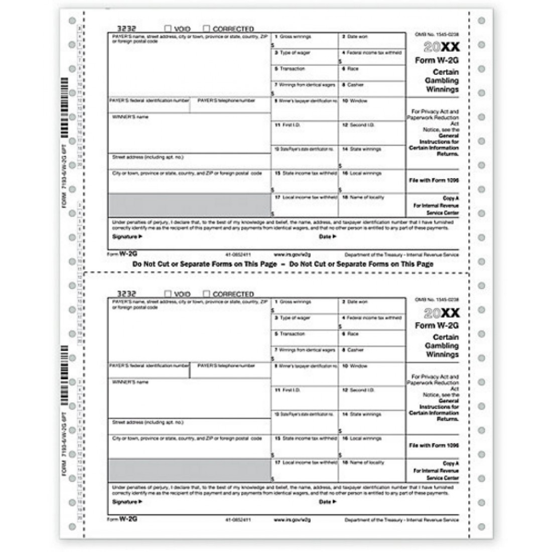 Continuous Federal Tax Form W 2G | Free Shipping