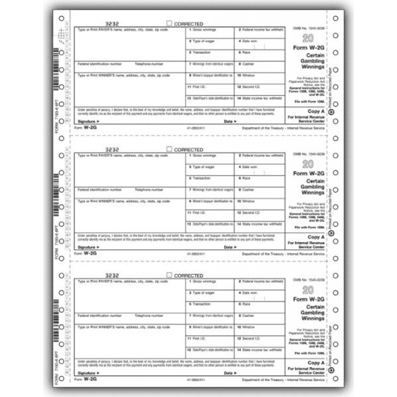 Continuous Federal Tax Form W-2G