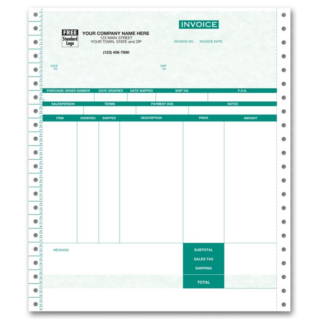 Continuous Inventory Invoice for One-Write Plus - Parchment