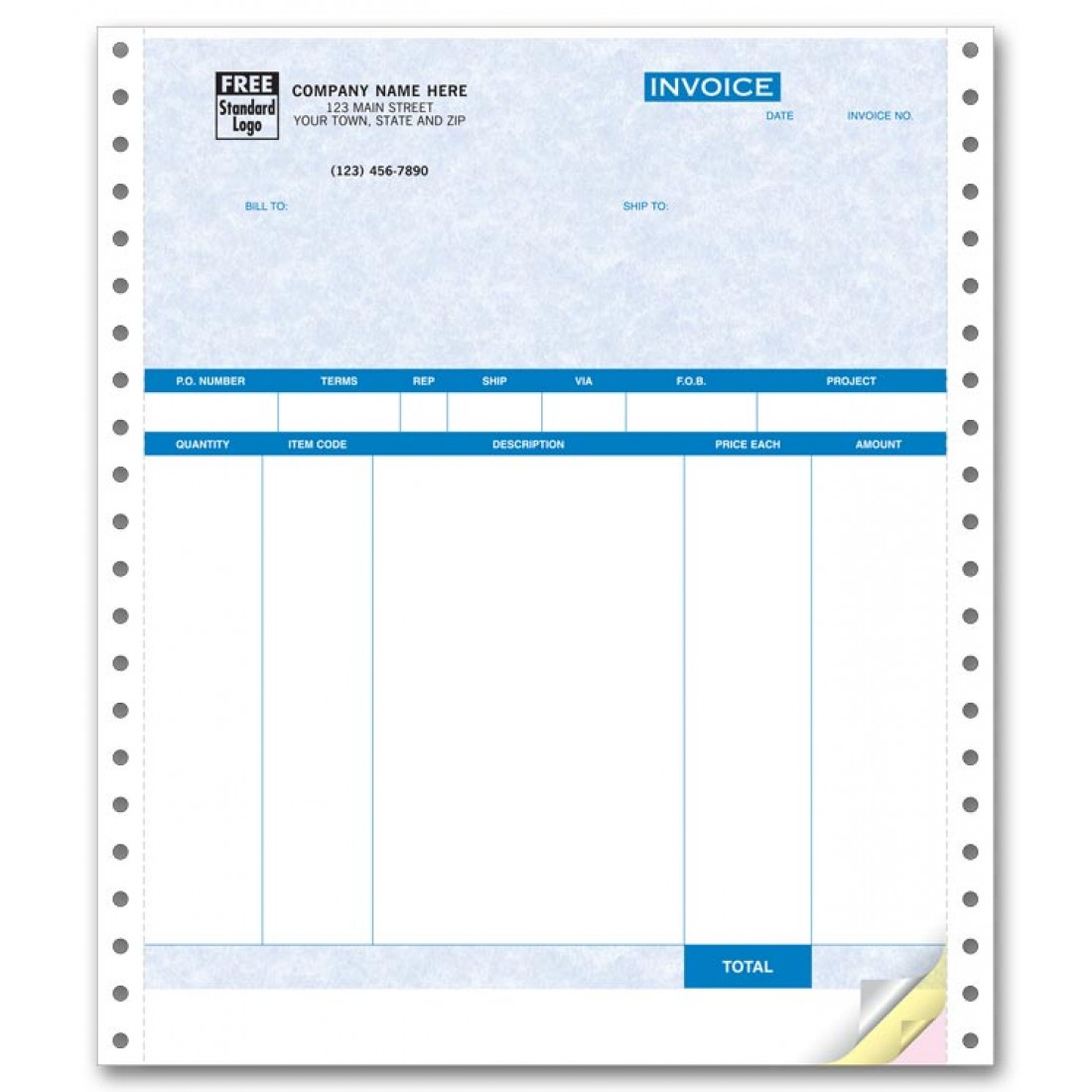 Continuous Product Invoice - Parchment compatible with QuickBooks