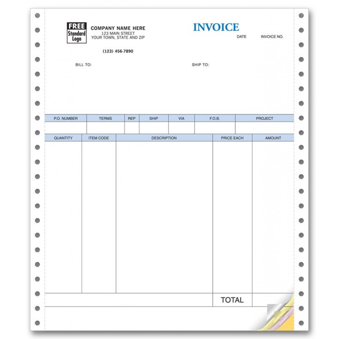 Continuous Product Invoice compatible with QuickBooks  - No Packing Slip