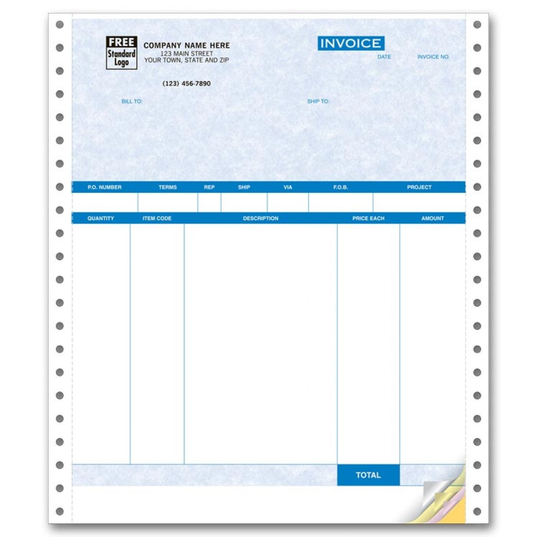 Continuous Product Invoice Compatible With QuickBooks No Packing - Quickbooks invoice logo size