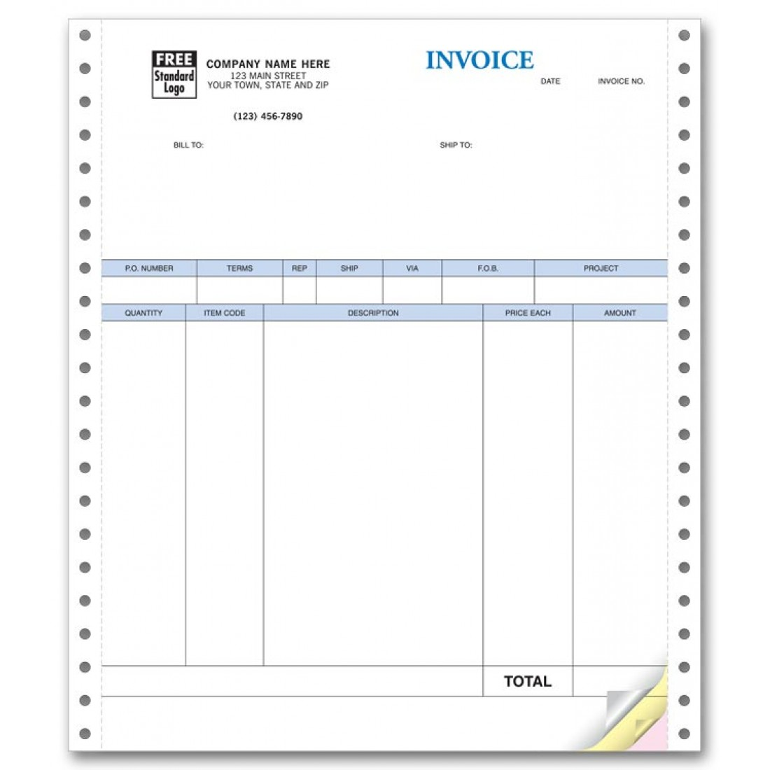 Continuous Product Invoice compatible with QuickBooks