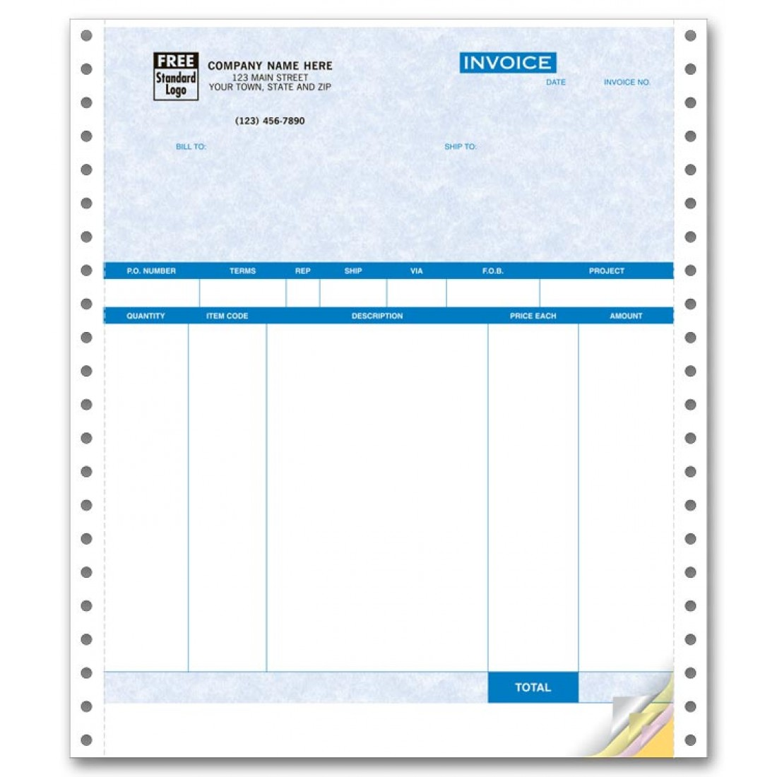 Continuous Product Invoice for QuickBooks - No Packing